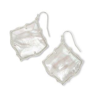Kristen Silver Drop Earrings in Ivory Pearl
